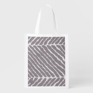 Tiger Stripes Gray Canvas Look Grocery Bag