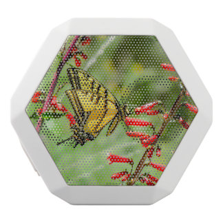Tiger Swallowtail Butterfly and Wildflowers White Bluetooth Speaker
