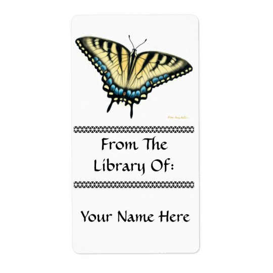 Tiger Swallowtail Butterfly Bookplate Shipping Label