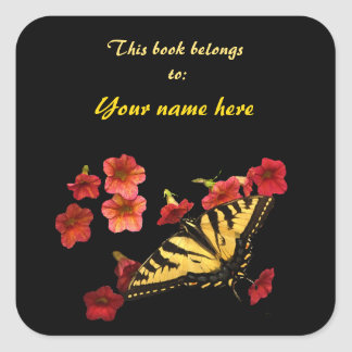 Tiger Swallowtail Butterfly Bookplate Square Sticker