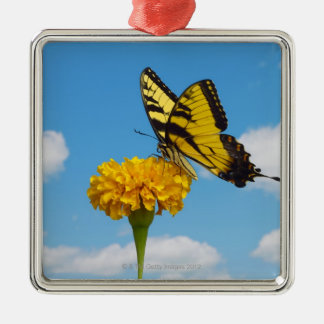 Tiger Swallowtail Butterfly on a Flower Christmas Ornament