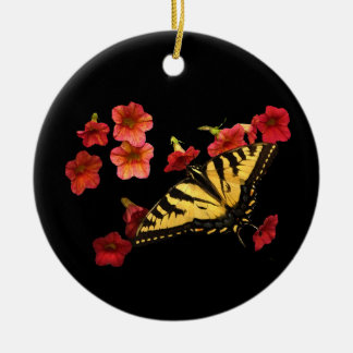 Tiger Swallowtail Butterfly on Red Flowers Round Ceramic Decoration