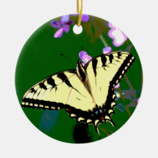 Tiger Swallowtail Butterfly on Wild Flowers Round Ceramic Decoration