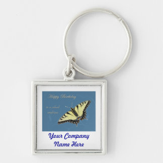 Tiger Swallowtail Butterfly Silver-Colored Square Key Ring
