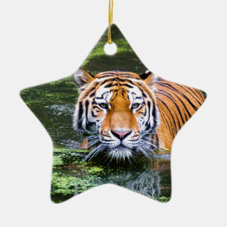 Tiger Swimming Christmas Ornament