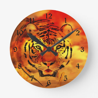 Tiger through the sunrise round clock