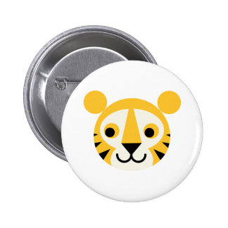 Tiger Tigers Big Cat Cats Cute Head Smile 6 Cm Round Badge