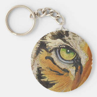 """Tiger Tiles"" Tiger Face Mosaic Watercolor Basic Round Button Key Ring"