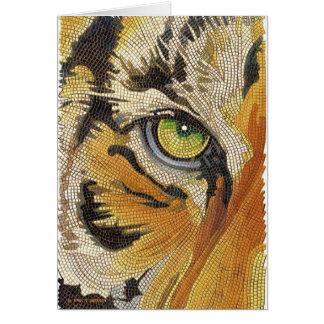 """""""Tiger Tiles"""" Tiger Face Mosaic Watercolor Greeting Card"""