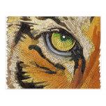 """Tiger Tiles"" Tiger Face Mosaic Watercolor Post Cards"