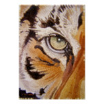 """Tiger Tiles"" Tiger Face Mosaic Watercolor Posters"