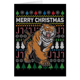 Tiger Ugly Christmas Sweater Wildlife Series Card