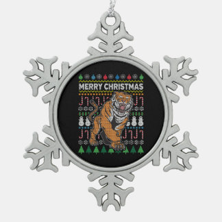 Tiger Ugly Christmas Sweater Wildlife Series Snowflake Pewter Christmas Ornament