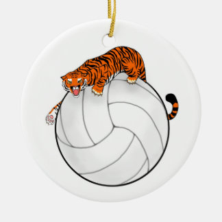 Tiger Volleyball Ceramic Christmas Ornament