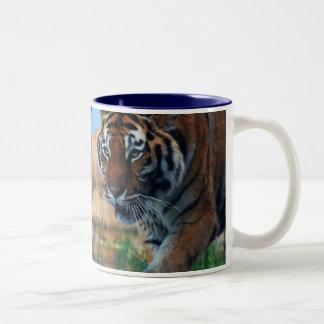 Tiger wading in water Two-Tone coffee mug
