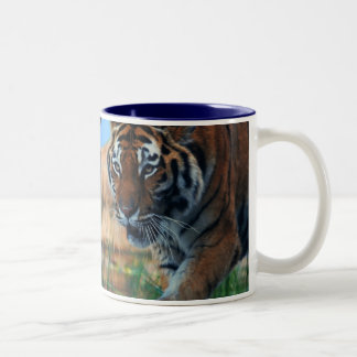 Tiger wading in water Two-Tone mug