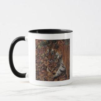 Tiger Walking on Dead Leaves Mug