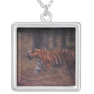 Tiger Walking through Forest Silver Plated Necklace