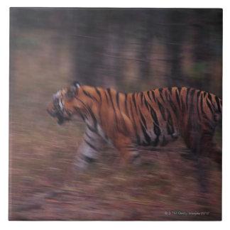 Tiger Walking through Forest Large Square Tile