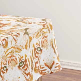 Tiger Watercolor Faces Pattern Tablecloth