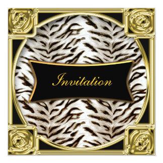 """Tiger White Gold Black Birthday Party Invitation 5.25"""" Square Invitation Card"""