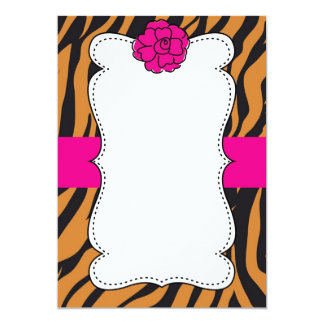 Tiger Wild Cat Animal Print Pink Invitation