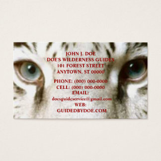 TIGER WILDERNESS OUTDOOR SERVICES ~ BUSINESS CARD