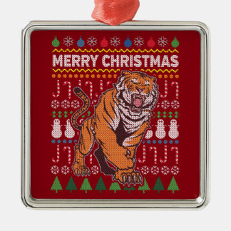 Tiger Wildlife Merry Christmas Ugly Sweater Silver-Colored Square Decoration