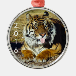 Tiger with a 'tude Silver-Colored round decoration