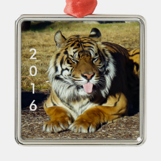 Tiger with a 'tude Silver-Colored square decoration