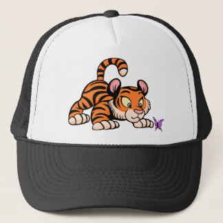 Tiger with butterfly trucker hat