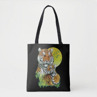 Tiger with Cub All-Over-Print Tote Bag