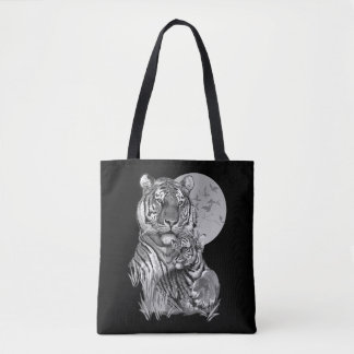 Tiger with Cub (B/W) All-Over-Print Tote Bag