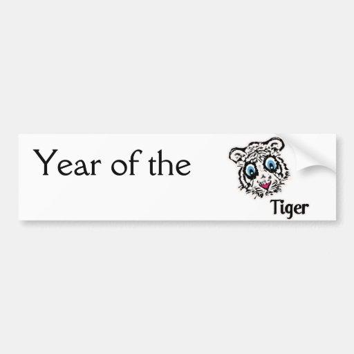 Tiger with Hearts Bumper Sticker