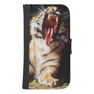 Tiger with mouth open samsung s4 wallet case