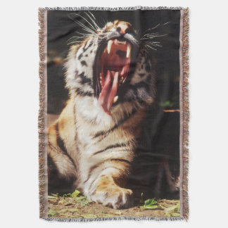 Tiger with mouth open throw blanket