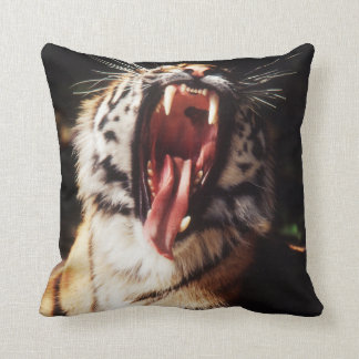 Tiger with mouth open throw pillow