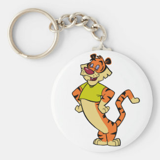 Tiger - Yellow Mascot Basic Round Button Key Ring