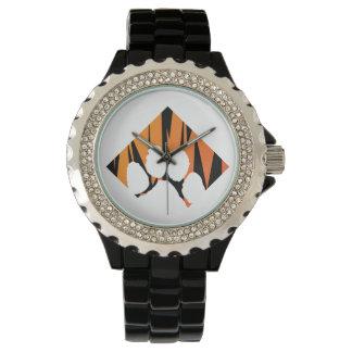 Tigerpaw Rhinestone Black Enamel Watch