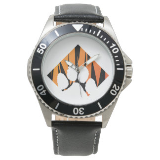 Tigerpaw Stainless Steel Black Leather Wristwatches