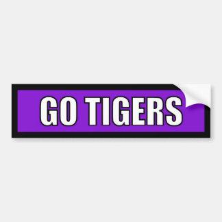 Tigers - Black Purple White Bumper Stickers
