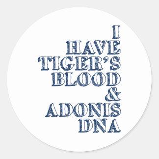 Tiger's blood adonis dna Sheen Classic Round Sticker
