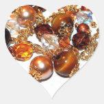 Tiger's Eye Bead Bracelet Heart Stickers
