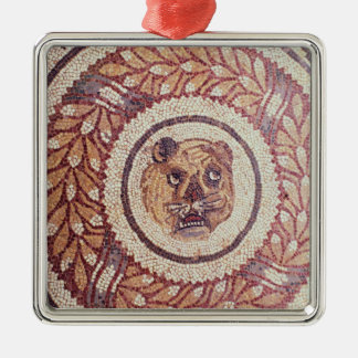 Tiger's head, Roman mosaic, early 4th century Silver-Colored Square Decoration