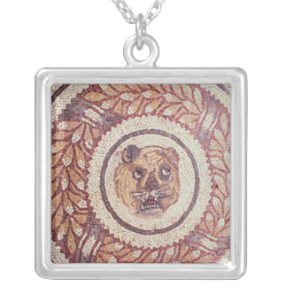 Tiger's head, Roman mosaic, early 4th century Silver Plated Necklace
