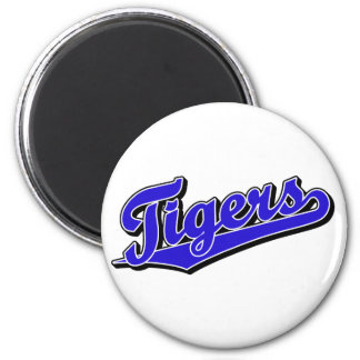 Tigers in Blue 6 Cm Round Magnet