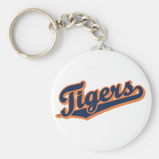 Tigers in Custom Colors Basic Round Button Key Ring