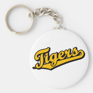Tigers in Orange Basic Round Button Key Ring
