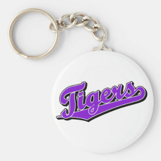 Tigers in Purple Basic Round Button Key Ring