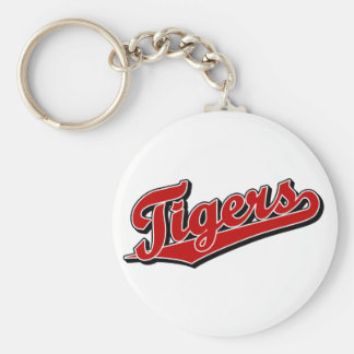 Tigers in Red Basic Round Button Key Ring